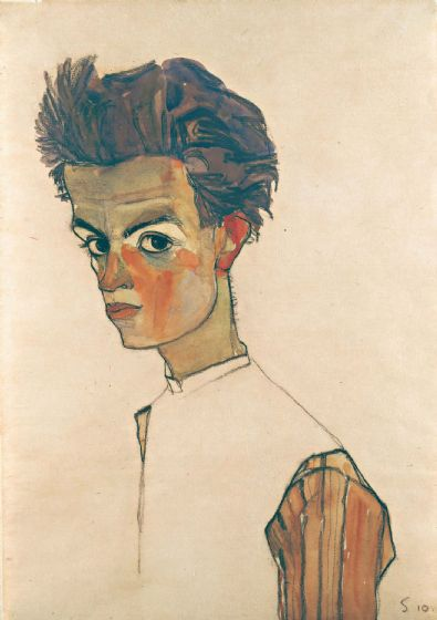 Schiele, Egon: Self-Portrait with Striped Shirt. Fine Art Print/Poster. Sizes: A4/A3/A2/A1 (003720)